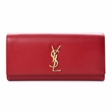 Saint Laurent Grain De Poudre Classic Monogram Cassandre Clutch - Red