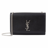 Saint Laurent Kate Silver Monogram Shoulder Bag - Black