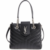 Saint Laurent Loulou Matelasse Calfskin Small Leather Shopping Tote - Black