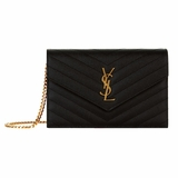 Saint Laurent Monogram Envelope Chain Wallet with 6 Card Slots - Black