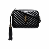 Saint Laurent Monogram Lou Small Leather Cross Body Bag - Black