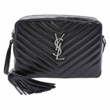 Saint Laurent Monogram Lou Small Leather Crossbody Bag - Black