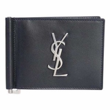 Saint Laurent Monogram Money Clip Wallet - Black