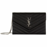 Saint Laurent Silver Monogram Envelope Chain Wallet with 6 Card Slots - Black