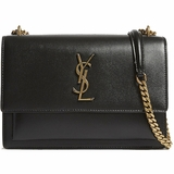 Saint Laurent Sunset Medium Shoulder Bag with Gold Chain - Black