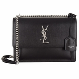 Saint Laurent Sunset Medium Shoulder Bag with Silver Chain - Black