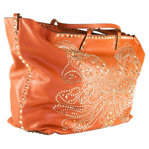 3ec0fa3ec Authentic Valentino Rockstud Butterfly Shoulder Bag - Orange at ...