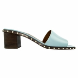 Valentino Garavani Leather Flat Sandal - Light Blue