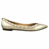 Valentino Garavani Leather Flat Shoes - Beige