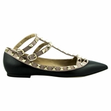 Valentino Garavani Leather Flat Shoes - Black