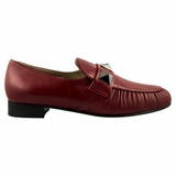 Valentino Rockstud Women's Leather Loafers - Burgundy