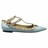 Valentino Garavani Leather Flat Shoes - Light Blue