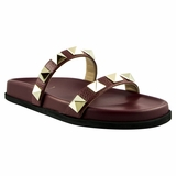 Valentino Rockstud Leather Slides - Maroon