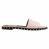 Valentino Rockstud Leather Slides - Pink