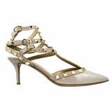 Valentino Garavani Leather High Heels Pointed Toe Shoes - Beige