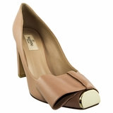 Valentino Bow Leather High Heels Shoes - Tan