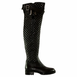 Valentino Garavani Leather High Knee Boot - Black