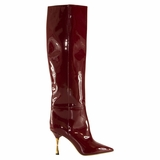 Valentino Leather Pointed Toe Boot - Red