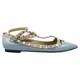 Valentino Garavani Leather Pointed Toe Flat Shoes - Light Blue