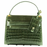 Valentino My Rockstud Crocodile Leather Single Top Handle Handbag - Green