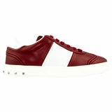 Valentino Striped Women's Leather Sneakers - Red