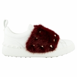 Valentino Mink Fur Women's Sneakers NW0S0E11 Red/White