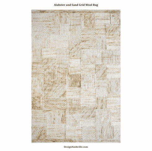 Alabaster and Sand Grid Wool Rug