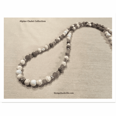 "Alpine Chalet  33"" Necklace, grey snow"