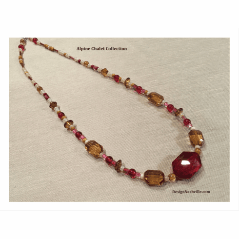 "Alpine Chalet Necklace 22"", crimson ballroom"