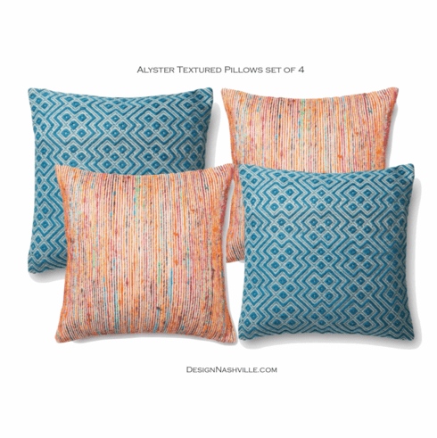 "Alyster Textured 22"" Pillows set of 4"
