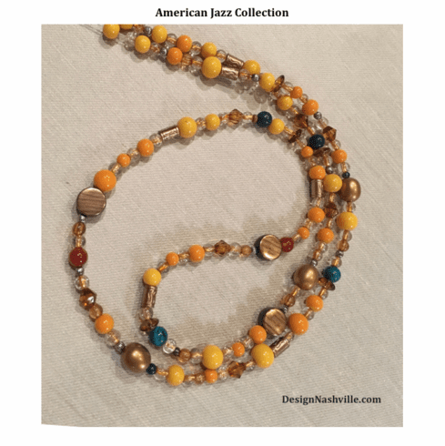 """American Jazz Necklace 34"""", yellow gold bronze"""