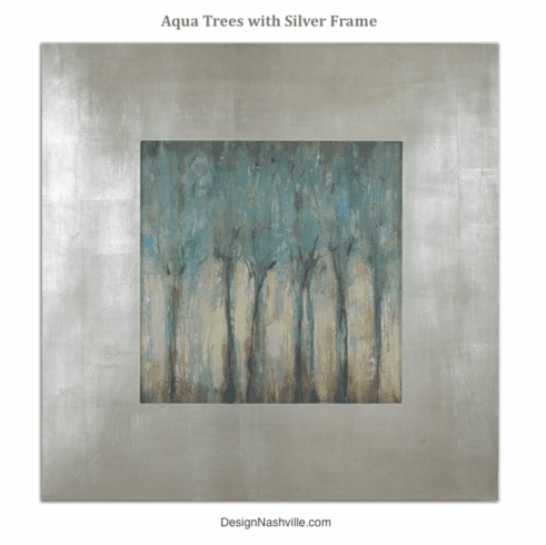 Aqua Trees in Silver Frame