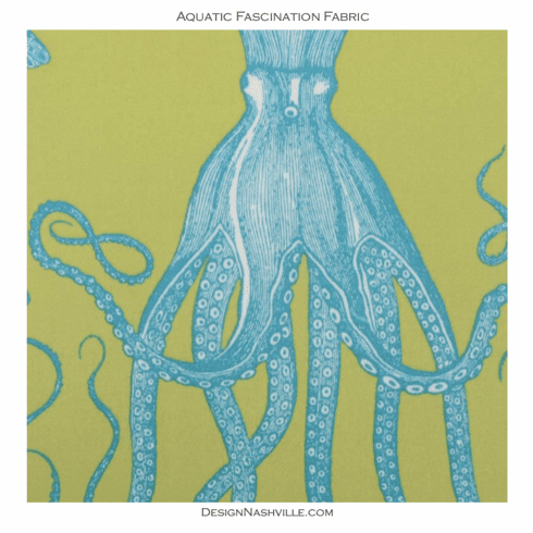 Aquatic Fascination Indoor-Outdoor<br>Fabric lime aqua