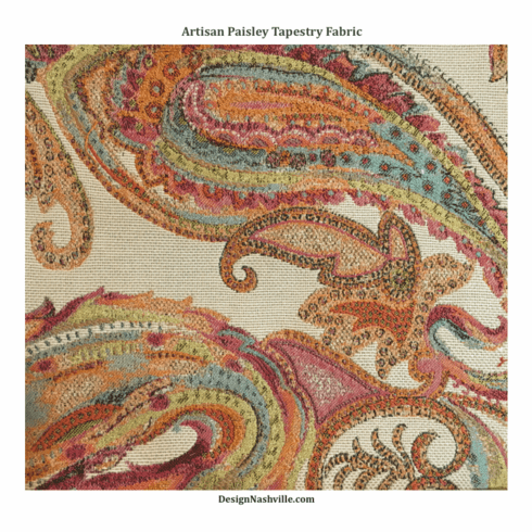 Artisan Paisley Tapestry Fabric,  orange fuchsia