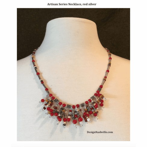 Artisan Series Necklace, red silver