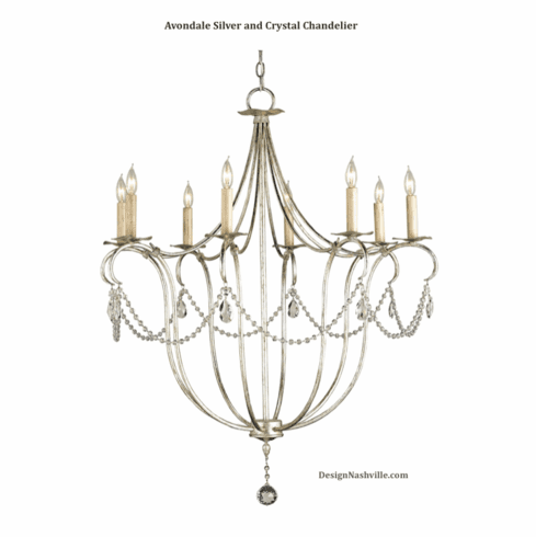 Avondale Silver and Crystal Chandelier