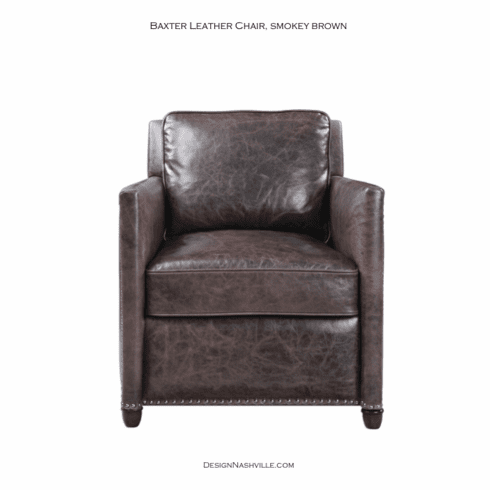 Baxter Leather Chair, smokey brown