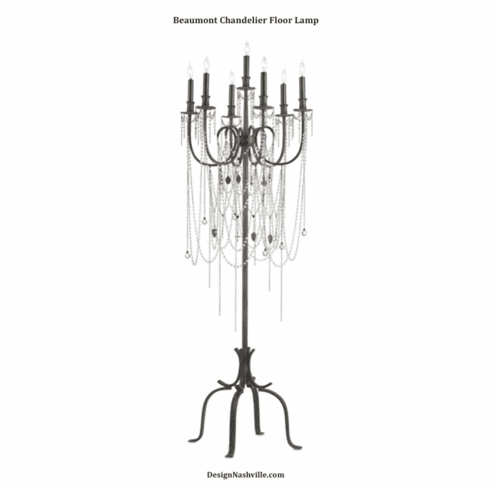 Beaumont Chandelier Floor Lamp with draped crystals