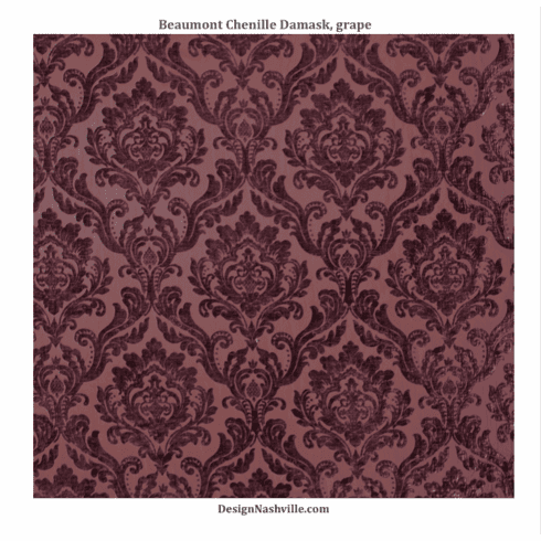 Beaumont Chenille Damask Fabric, <br>grape