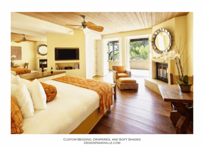 Bedroom: tropical white and burnt orange
