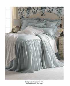 Bedspread with attached skirt, faux linen