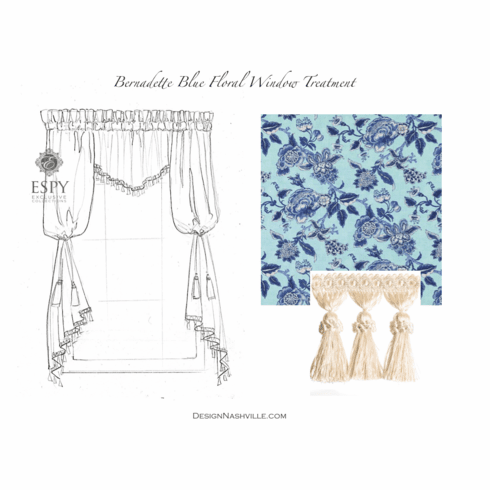 Bernadette Blue Floral Window<br> Treatment