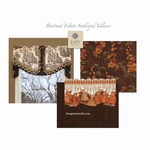 Bertrand Estate Scalloped Valance v.1 chocolate