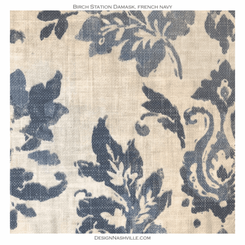 Birch Station Damask Fabric french navy
