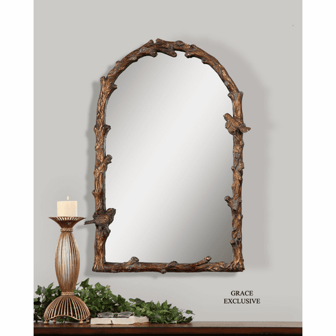 Bird Song Arched Mirror