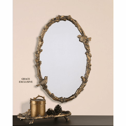 Bird Song Oval Mirror