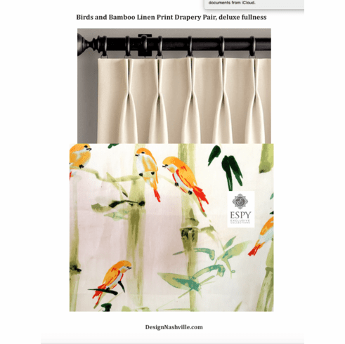 Birds and Bamboo Linen Print Drapery Pair, deluxe fullness