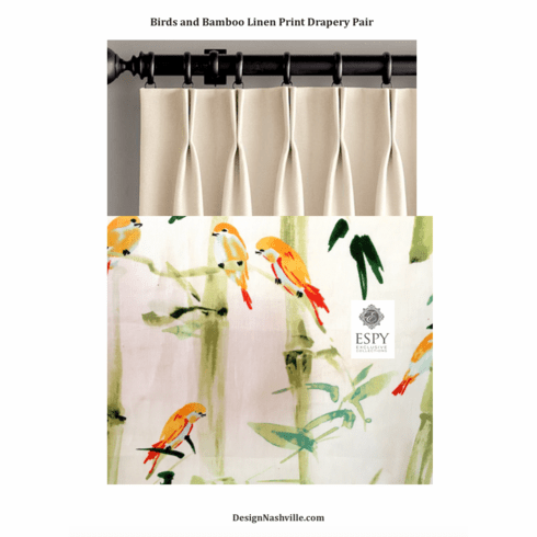 Birds and Bamboo Printed Linen <br>Draperies