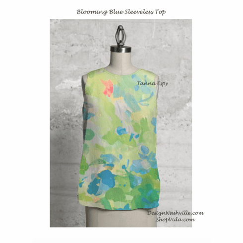 Blooming Blue Sleeveless Top