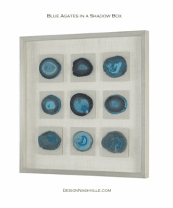 Blue Agates in Shadow Box 3/4 view